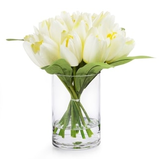 Enova Home 18 Heads Silk Tulip Flower in Glass Vase with Faux Water For Home Office Decoration
