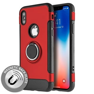 Hybrid Plastic and Silicone Circle Stand Case for iPhone X or Xs