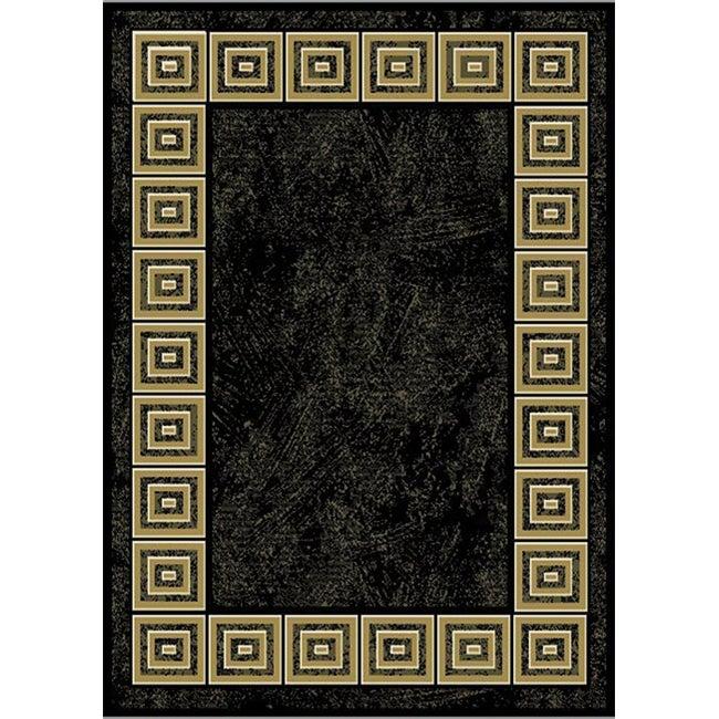 Renaissance Black Modern Area Rug (7'8 x 10'5)