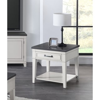 Martin Svensson Home Del Mar 1 Drawer End Table, Antique White and Grey