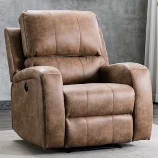 Power Recliner Chair Air Suede - Overstuffed Electric Faux Suede Leather Recliner Chair with USB Charge Port