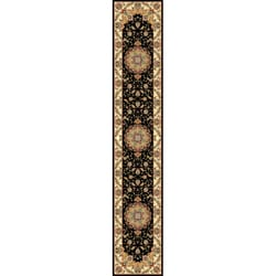 Lyndhurst Collection Traditional Black/ Ivory Runner (2'3 x 14')