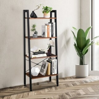 4 Tiers Industrial Ladder Shelf, Vintage Bookshelf, Storage Rack Shelf for Office, Living Room