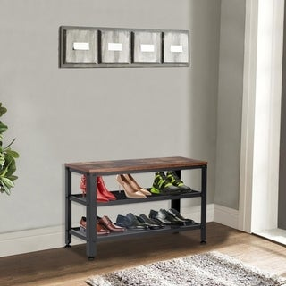 Industrial Shoe Bench, 3-Tier Shoe Rack Storage Organizer