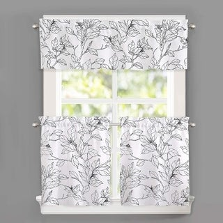 DriftAway Ryan Sketch Floral Branch Leaves Pattern Curtain Set