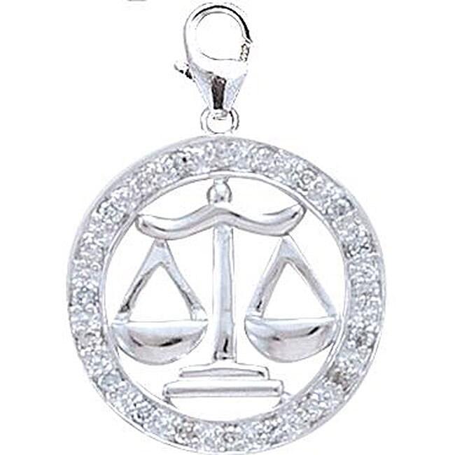 14k White Gold 1/10ct TDW Diamond Libra Charm