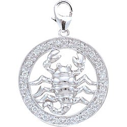 14k White Gold 1/10ct TDW Diamond Scorpio Charm