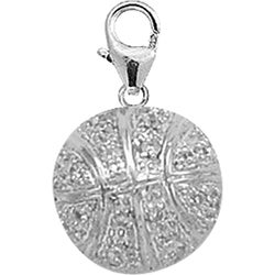 14k Gold 1/10ct TDW Diamond Basketball Charm