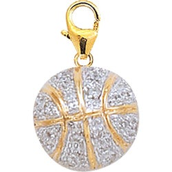 14k Gold 1/10ct TDW Diamond Basketball Charm (H-I-J, I2)