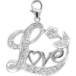14k White Gold 1/10ct TDW Diamond Love Charm