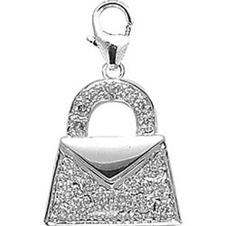 14k White Gold 1/10ct TDW Diamond Handbag Charm