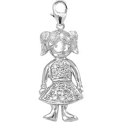 14k White Gold 1/10ct TDW Round-cut Diamond Little Girl Charm (H-I/J, I2)