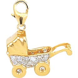 14k Gold 1/10 ct TDW Diamond Baby Carriage Charm (H-I-J, I2)