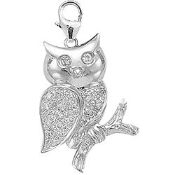 14k White Gold 1/10ct TDW Diamond Owl Charm