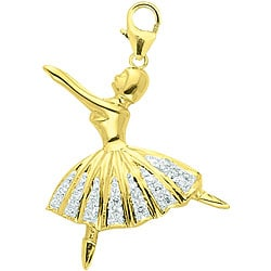 14k Yellow Gold Diamond Ballerina Charm