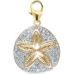 14k Gold 1/10ct TDW Diamond Sand Dollar Charm
