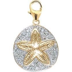 14k Yellow Gold 1/10ct TDW Diamond Sand Dollar Charm (H-I/J, I2)