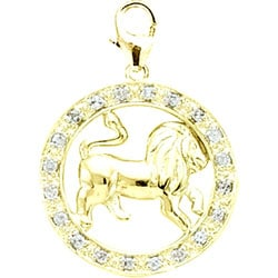 14k Gold 1/10ct TDW Diamond Zodiac Leo Charm