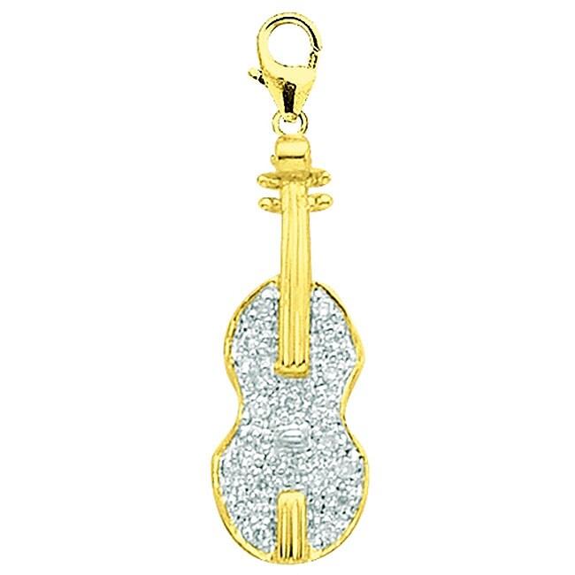 14k Gold 1/10ct TDW Diamond Violin Charm