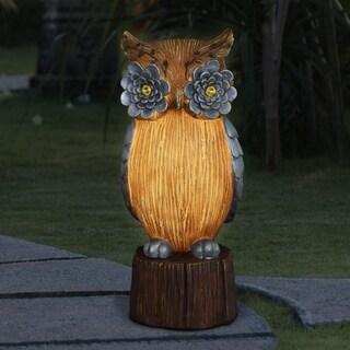"Solar Woodsy Owl with Silver Eyes - 7.0"" x 6.5"" x 16.5"""
