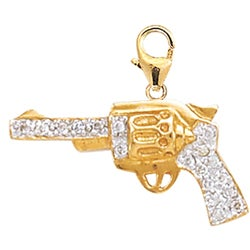 14k Gold 1/10ct TDW Diamond Pistol Charm