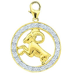 14k Gold 1/10ct TDW Diamond Aries Sign Charm