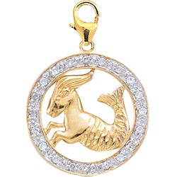 14k Gold 1/10ct TDW Diamond Capricorn Zodiac Charm