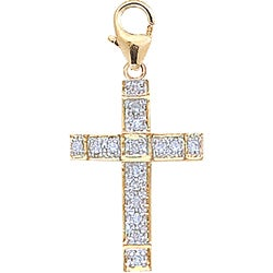 14k Yellow Gold 1/10ct TDW Diamond Cross Charm (H-I-J, I2)
