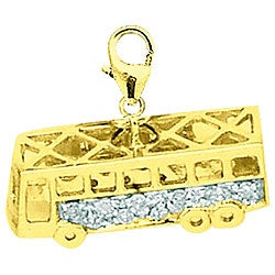14k Gold 1/10ct TDW Diamond School Bus Charm