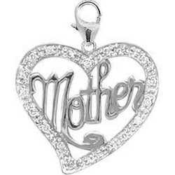 14k Gold 1/10ct TDW Diamond Mother in Heart Charm