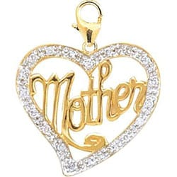 14k Gold 1/10ct TDW Diamond Mother Heart Charm