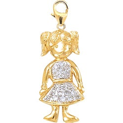 14k Gold 1/10ct TDW Diamond Girl Charm