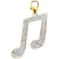 14k Yellow Gold 1/10ct TDW Diamond Musical Note Charm (H-I/J, I2)