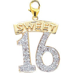 14k Gold 1/10ct TDW Diamond Sweet 16 Charm (H-I-J, I2)