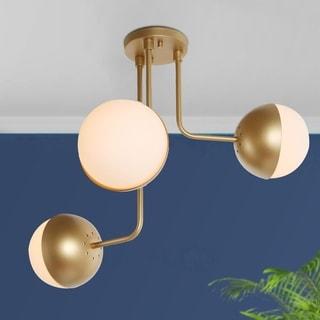 "Mid-Century 3-light Semi-Flush Mount Ceiling Lighting Fixture Gold - W23.6""xH22.8"""