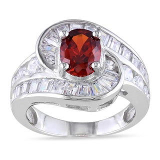 Miadora Sterling Silver Created Garnet CZ Ring