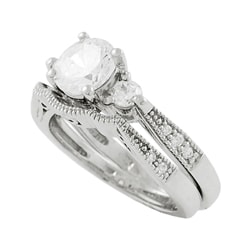 Tressa Sterling Silver Cubic Zirconia 2-piece Ring Set