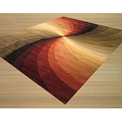 Hand-tufted Swirl Wool Rug (9' x 12')