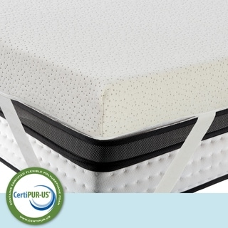 LuxyFluff 3-Inch Gel-Infused Memory Foam Mattress Topper with Ventilated Removable Washable Bamboo Cooling Cover, Corner Straps