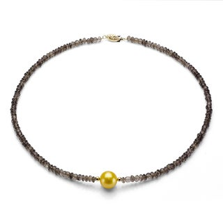 DaVonna 14k Gold Smokey Quartz and Golden FW Pearl Necklace (12-13 mm)