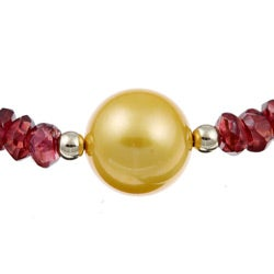 DaVonna 14k Gold Red Garnet and Golden FW Pearl Necklace (12-13 mm)