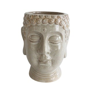 "Ceramic 8"" Buddha Head Planter, Gray"