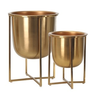 """Metal Planters On Stand 13/10""""H, Gold (Set of 2)"""