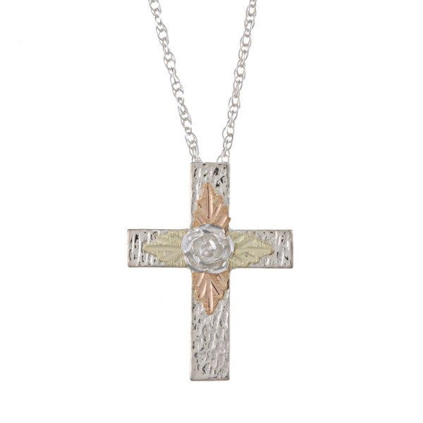 Black Hills Gold on Silver Cross Necklace with Rose Detail