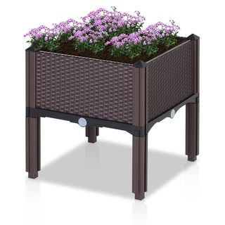 Outsunny Rattan Flower Planter Box with Raised Gardening Plant Pot, Compact Footprint, and Self-Watering Design