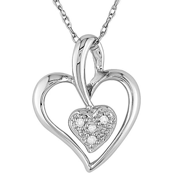 Haylee Jewels 10k White Gold Diamond Double Heart Necklace