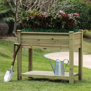 34in Wood Rectangular Raised Garden Planter