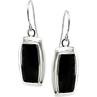 M by Miadora Sterling Silver Rectangular Black Onyx  Earrings