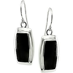 Miadora Sterling Silver Rectangular Black Onyx  Earrings