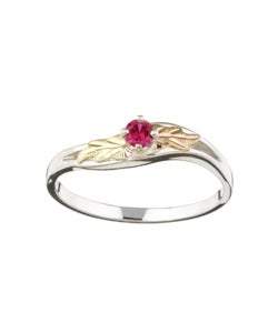 Black Hills Gold and Sterling Silver July Birthstone Ring